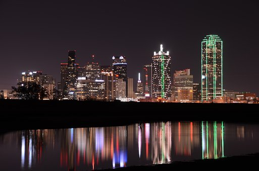 Dallas Skyline, Night Lights, Reflection, Twilight