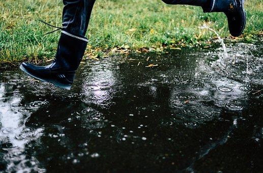 Rain, Rubber Boots, Puddle, Wet, Fun, Running