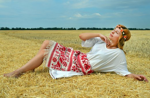 Woman, Model, Folk Costume, Embroidery, Shirt, Field