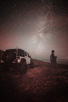 Car, Fishing, Dark, Night, Sky, Stars, Mood, Landscape