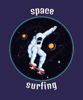 Astronaut, Surf Board, Planets, Stars, Space, Surfing