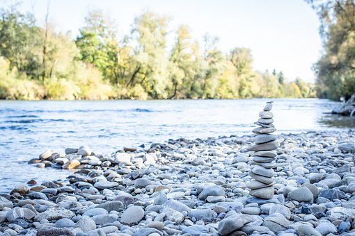 Stone Tower, Cobblestone, Stones, River, Riverbank