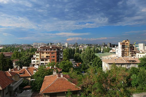 Town, Urban, Buildings, Houses, Trees, Sky, Bulgaria