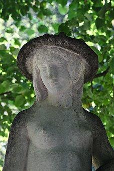 Woman, Statue, Sculpture, Goddess, Park, Stone