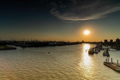 Sunset, Hamburg, Germany, Port, Water, Ships, Boats