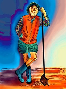Old Man, Broom, Work, Standing, Cartoon, Pop Art