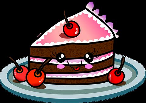 Cake, Slice, Kawaii, Cartoon, Drawing, Chocolate