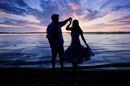 Beach, Spinning, Dancing, Sunset, Love, Couple, Loving