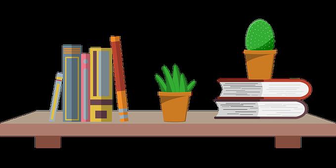 Books, Bookshelf, Plants, Decoration, Library
