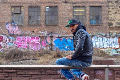Male, Man, Graffiti, Leather, Jacket, Urban