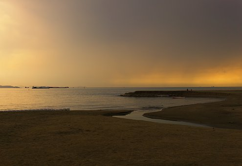 Sunset, Beach, Sand, Sea, Ocean, Seashore, Coast, Sky