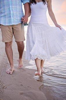 Beach, Walking, Couple, Strolling, Lovers, Walk, Ocean
