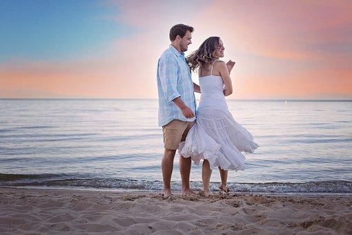Beach, Walking, Walk, Stroll, Sunset, Love, Couple