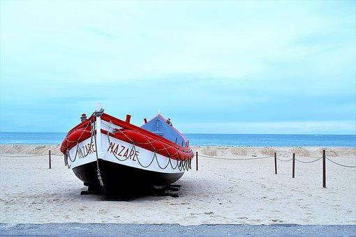 Boat, Beach, Sand, Coast, Shore, Portugal