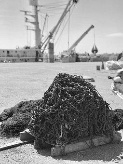 Chains, Port, Fishing, Fishing Chains, Rust, Rusty