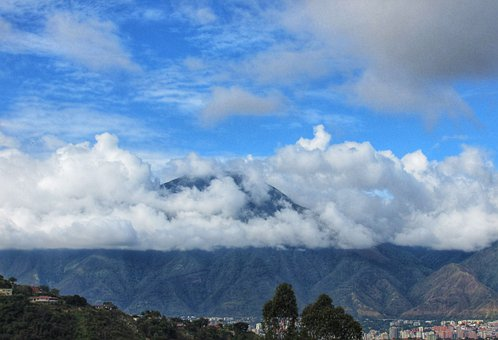 Mountains, Clouds, Trees, City, Cumulus, Landscape