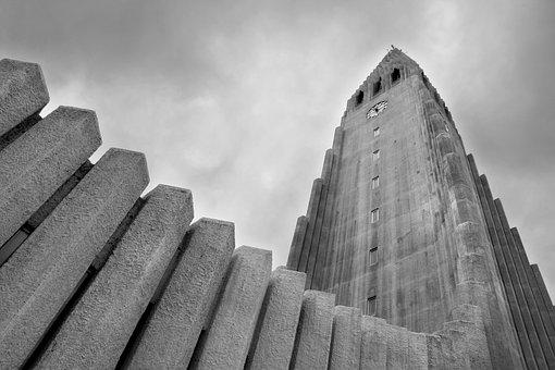 Church Hallgrímur, Iceland, Clouds, Perspective