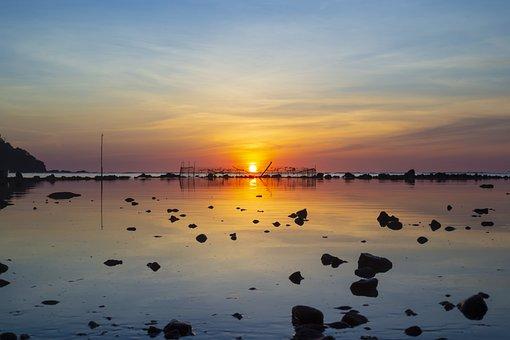 Dawn, Scenery, Ocean, Sea, Sun, Reflection, Sunset, Sky