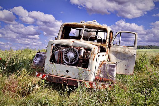 Car Wreck, Scrap Car, Oldtimer, Rusted, Decay