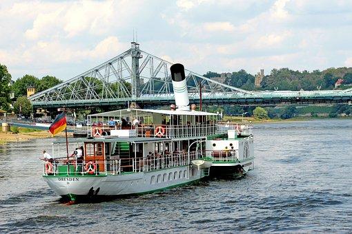 Ship, Boat, River, Bridge, Landscape, Dresden