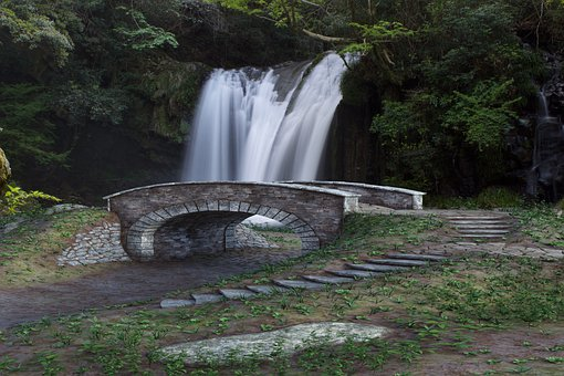 Waterfall, Bridge, Landscape, Nature, Forest, Outdoors