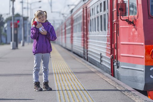 Girl, Daughter, Train Station, Train, Platform