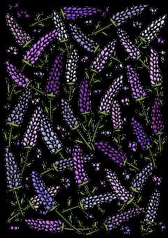 Lavender, Flowers, Pattern, Template, Decorative