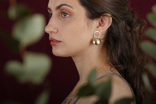 Woman, Model, Jewelry, Earrings, Makeup, Fashion