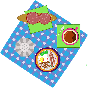 Breakfast, Meal, Dish, Plates, Table Cloth, Picnic