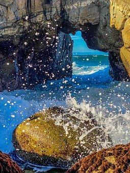 Rock Formation, Beach, Monterey, Splashing, Crashing