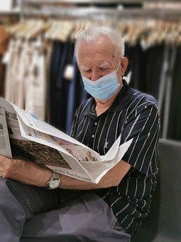 Man, Face Mask, Newspaper, Read, Corona, Mouth Guard