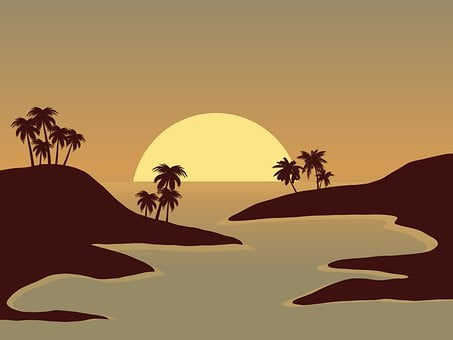 Silhouette, Sunset, Landscape, Palm, Nature, Sun, Water