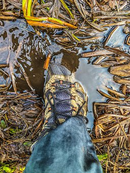 Boot, Shoe, Foot, Puddle, Water, Mud, Nature, Hiking