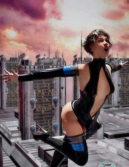 Woman, Model, Character, Skyscrapers, City, Heat