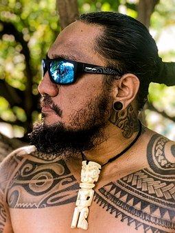 Man, Sunglasses, Necklace, Collar, Tattoo, Polynesian