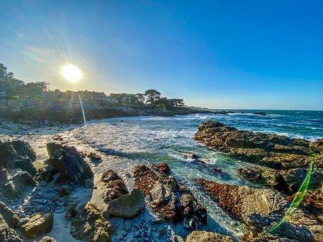 Sunset, Beach, Sand, Rocks, Waves, Foam, Monterey