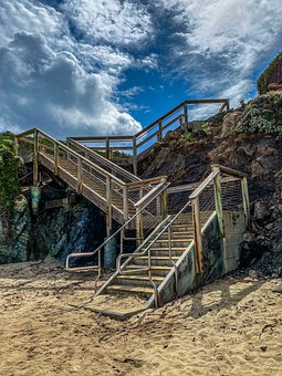 Beach, Sand, Stairs, Ocean, Clouds, Sky, Tropical