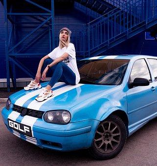 Woman, Young, Model, Car, Volkswagen, Golf, Blonde