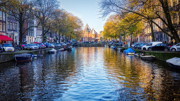 Canal, River, Boats, Buildings, Reflection, Trees, City