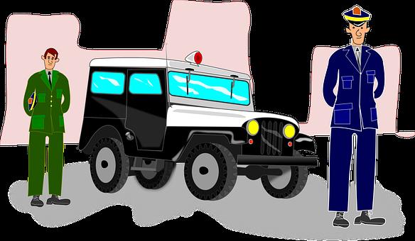 Carro De Policia, Cartoon, Jeep, Vintage