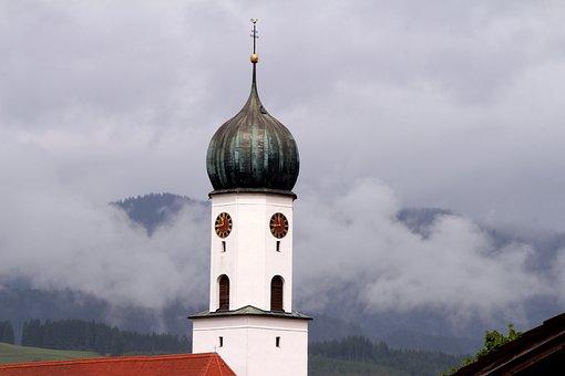 Church, Steeple, Church Tower In The Fog, Bavaria