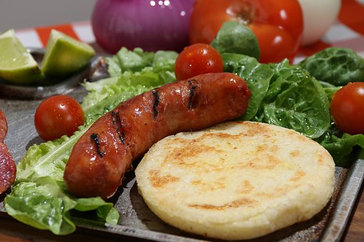 Meal, Dish, Plate, Arepa, Sausage, Chorizo, Grill, Meat