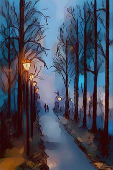 Park, Night, Evening, Dusk, Lanterns, Lights, Trees