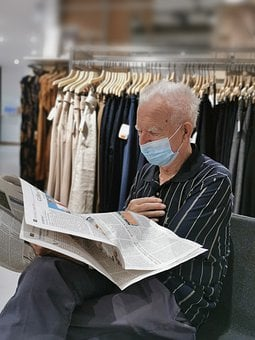 Man, Newspaper, Read, Face Mask, Protection