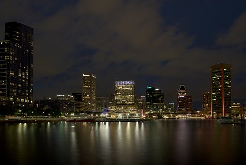 Night, Harbour, Baltimore, Harbor, Seaport, Port, Water