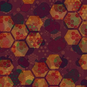 Honey, Art, Honeycomb, Hexagon, Beehive, Apples