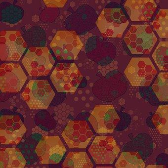 Honey, Art, Honeycomb, Hexagon, Beehive, Apples