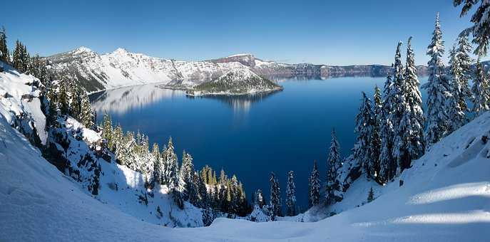 Crater Lake, Lake, Crater, Water, Nature, Landscape