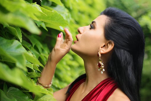 Woman, Model, Face, Makeup, Earrings, Jewelry, Leaves