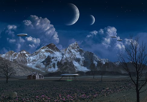 Space, Moon, Galaxy, Sky, Night, Universe, Mountains
